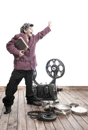 Loud teenager with a book and a cinema projector